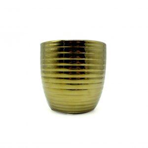 Vaso de cerâmica dourado decorativo